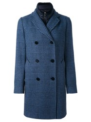 Fay Prince Of Wales Check Coat Blue