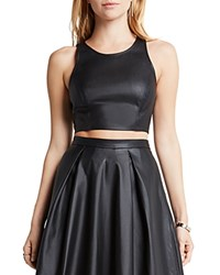 Bcbgeneration Perforated Faux Leather Crop Top Black