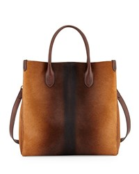 Ralph Lauren Classic North South Calf Hair Tote Bag Brown Ombre