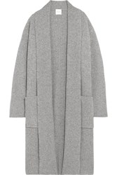 Madeleine Thompson Isobel Ribbed Wool And Cashmere Blend Cardigan Gray