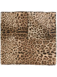 Dolce And Gabbana Leopard Print Scarf Brown