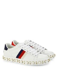 Gucci New Ace Faux Pearl Studded Leather Low Top Sneakers White Multi