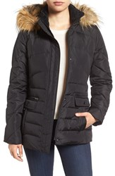Larry Levine Women's Water Repellent Quilted Jacket With Faux Fur Trim