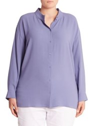 Eileen Fisher Button Front Silk Shirt Periwinkle