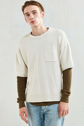 Urban Outfitters Uo Cotton Crew Neck Short Sleeve Sweater Ivory