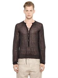 Balmain Lace Up Light Linen And Viscose Sweater