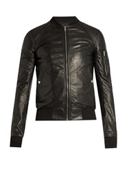 Rick Owens Sleeve Pocket Leather Bomber Jacket Black