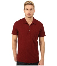 7 For All Mankind Raw Placket Polo Dark Crimson Men's Short Sleeve Pullover Burgundy