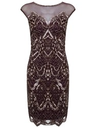 Miss Selfridge Lacey Body Dress Burgundy