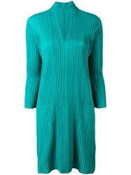 Issey Miyake Pleats Please By Pleated V Neck Dress Women Polyester 3 Green