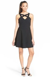Junior Women's Love Nickie Lew Cage Front Fit And Flare Dress
