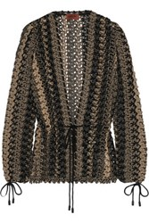 Missoni Open Knit Wool Blend Cardigan Brown