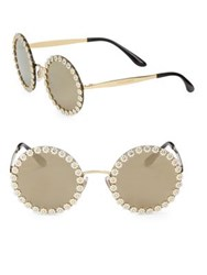 Dolce And Gabbana 56Mm Floral Trim Mirrored Round Sunglasses Gold