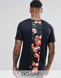 Hype T Shirt With Rose Print Back Panel Black