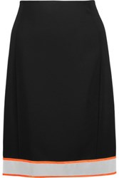 Moschino Metallic And Neon Trimmed Crepe Mini Skirt Black
