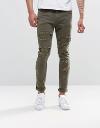 Asos Super Skinny Jeans With Rips In Khaki Khaki Green