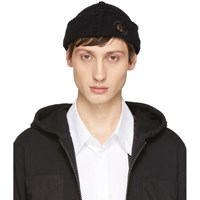 Craig Green Black Wool Boucle Eyelets Beanie