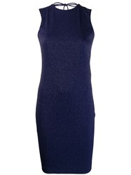 Fisico Lurex Fitted Dress Blue