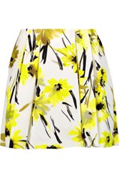 Alice Olivia Connor Pleated Printed Cotton And Silk Blend Mini Skirt Yellow