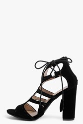 Boohoo Peeptoe Cut Work Suedette Shoe Black