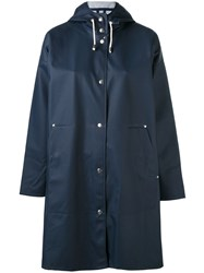 Stutterheim Hooded Long Sleeve Raincoat Women Cotton Polyester Pvc Xs Blue