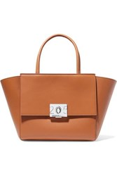 Calvin Klein 205W39nyc Bonnie Medium Grosgrain Trimmed Leather Tote Tan