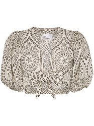 Lisa Marie Fernandez Poof Sleeve Tie Front Cropped Blouse White