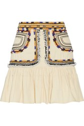 Isabel Marant Shad Embroidered Cotton Twill Mini Skirt Ecru
