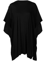 Y's Draped Oversized T Shirt Black