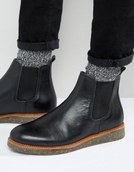 Asos Chelsea Boots In Black Leather With Cork Sole Black