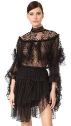 Rodarte Lace Tiered Ruffle Blouse Black
