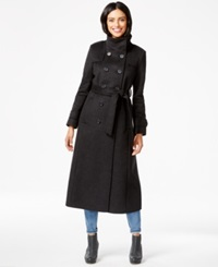 Dkny Double Breasted Belted Maxi Peacoat Charcoal