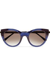 Thierry Lasry Joyridy Cat Eye Frame Acetate And Metal Sunglasses Midnight Blue