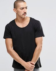 Weekday Daniel Scoop Neck T Shirt In Black Black 09 090