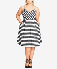 City Chic Trendy Plus Size Striped Fit And Flare Dress Ivory