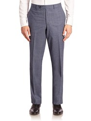 Saks Fifth Avenue Collection Heathered Wool Trousers Light Blue