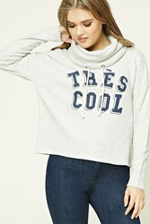 Forever 21 Tres Cool Funnel Neck Hoodie Light Grey Navy