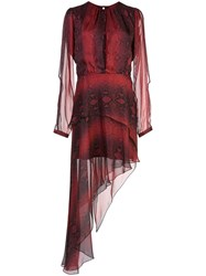 Amiri Snake Print Asymmetrical Dress Red
