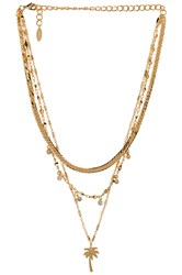 Ettika Layered Palm Tree Necklace Metallic Gold