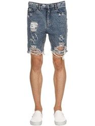 The People Vs Gussett Destroyed Denim Shorts Blue