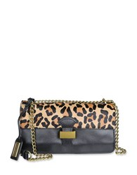 Badgley Mischka Tania Wild Leather And Calf Hair Crossbody Bag Leopard