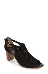 Women's Anyi Lu 'Zoe' Perforated Sandal Black Suede