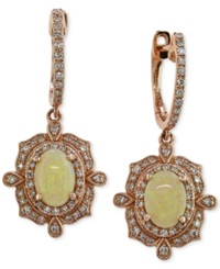 Effy Collection Effy Opal 9 10 Ct. T.W. And Diamond 3 8 Ct. T.W. Drop Earrings In 14K Rose Gold