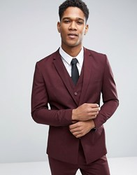 Only And Sons Skinny Suit Jacket With Square Hem In Marl Burgundy Red