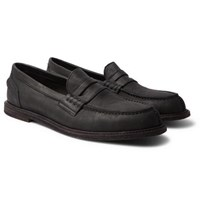 Hender Scheme Split Toe Distressed Leather Penny Loafers Black