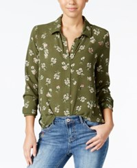 Polly And Esther Juniors' Printed Button Front Blouse Olive Floral