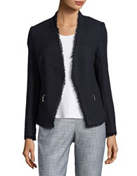 Ivanka Trump Fringed Open Front Jacket Navy
