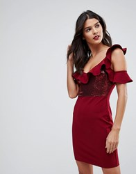 Naanaa Frill Detail Mini Dress In Sequins Burgundy Red