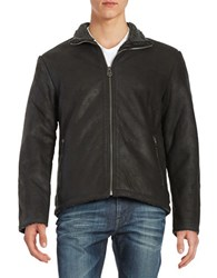 Cole Haan Faux Fur Trimmed Leather Jacket Black