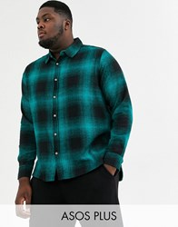 Soul Star Plus Fitted Check Shirt Green
